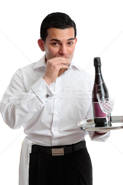 Garçom garçom servente vinho beber trabalhando Foto stock © lovleah