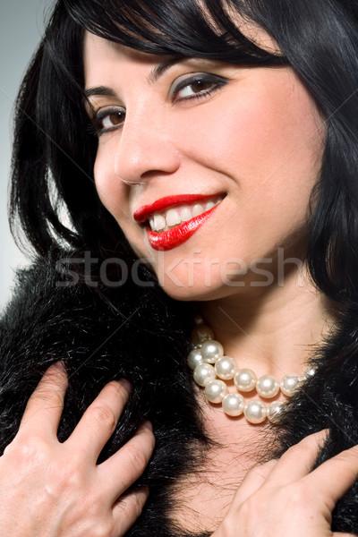 Beautiful Woman Pearly Smile Stock photo © lovleah
