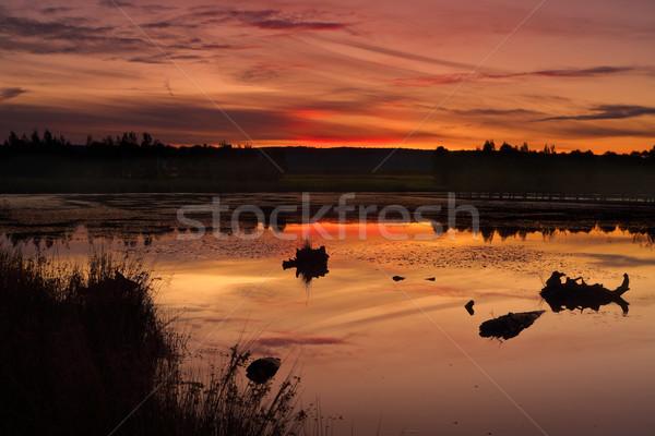 Sunset Duralia Lake Penrith Stock photo © lovleah