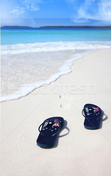 Bandiera spiaggia vacanze celebrazione Foto d'archivio © lovleah