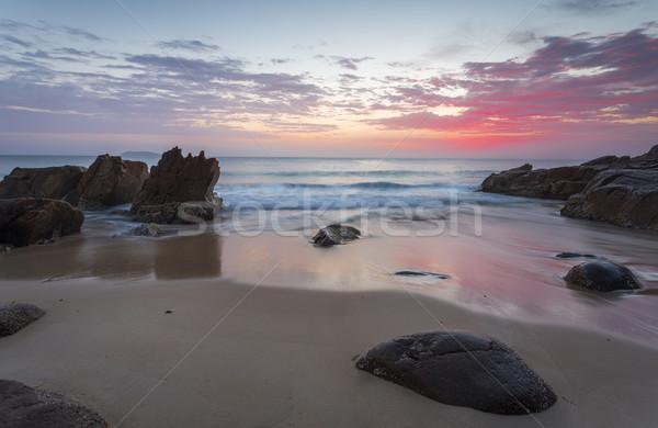 Güzel gündoğumu plaj liman renkler dalgalar Stok fotoğraf © lovleah