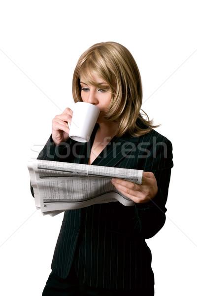 бизнеса Новости кофе женщину чай Сток-фото © lovleah