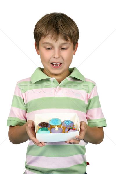 Gyermek tart nyami minitorták fiatal finom Stock fotó © lovleah