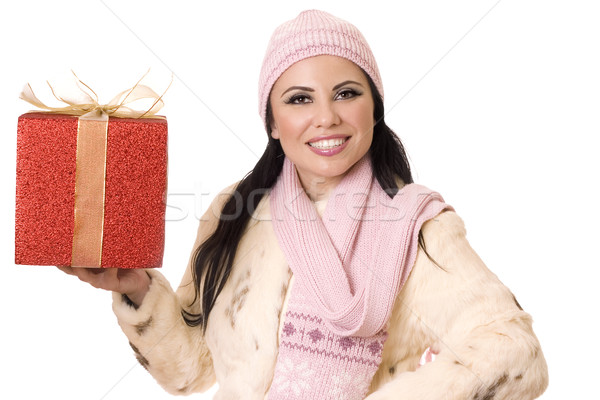Pretty Woman with Gift (or your product) Stock photo © lovleah