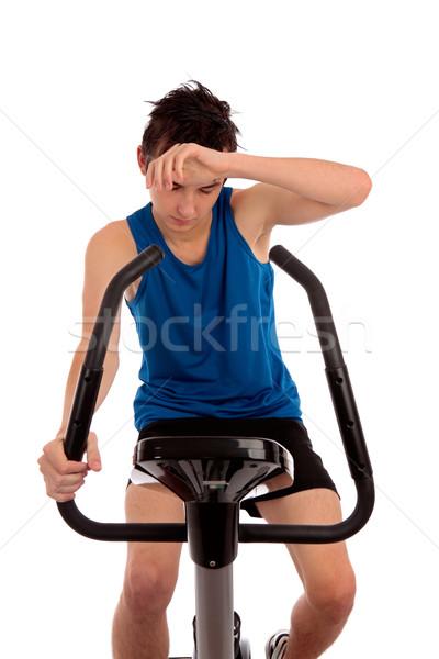Kimerült edzés testmozgás bicikli férfi tinédzser Stock fotó © lovleah