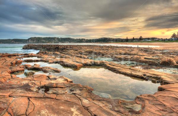 North Avoca rock pools at sunset Stock photo © lovleah