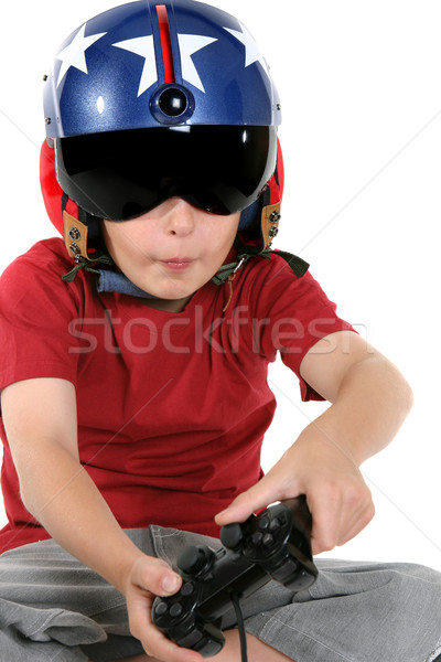 ребенка шлема играет полет вертолета Сток-фото © lovleah