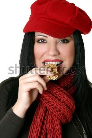 Dziewczyna jedzenie czekolady truskawek piękna szczęśliwy Zdjęcia stock © lovleah