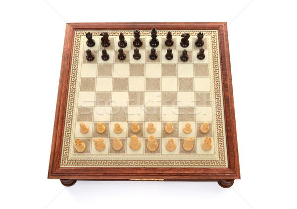 Satranç oyun tahta üzerinde görmek oynama Stok fotoğraf © lovleah