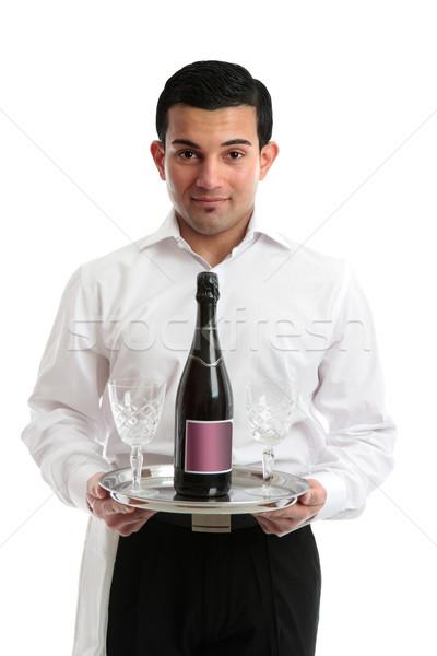 Pincér szolgáló csapos üveg bor borospoharak Stock fotó © lovleah