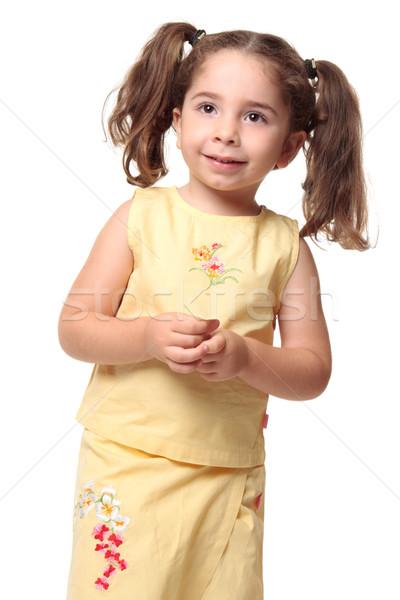 Csinos mosolyog kislány haj lány gyermek Stock fotó © lovleah
