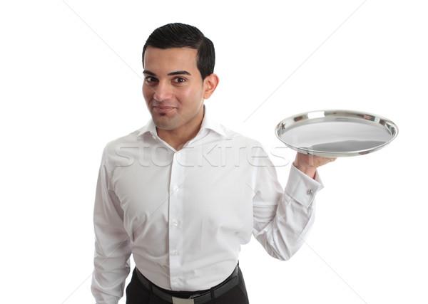Garçom garçom vazio prata bandeja pronto Foto stock © lovleah