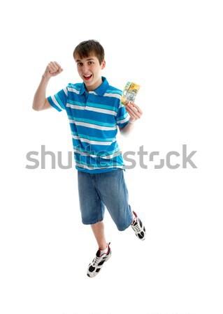 Teen ragazzo successo salto gioia Foto d'archivio © lovleah