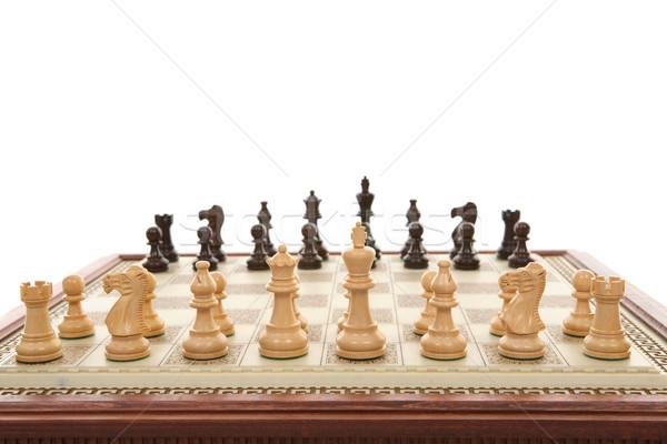 Satranç oyun parçalar tahta mermer satranç tahtası Stok fotoğraf © lovleah