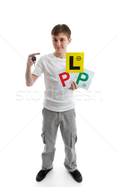 teenager holding car key and learner licence plates Stock photo © lovleah