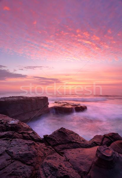 Amanecer norte playa rock plataforma hermosa Foto stock © lovleah