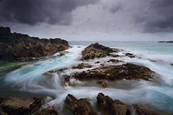 Stormachtig zeegezicht zwaar onweerswolken snel Stockfoto © lovleah