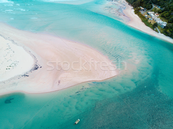 Lone Fisherman in tidal flows aerial Stock photo © lovleah