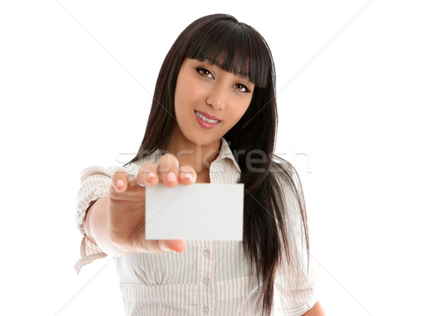 Girl holding club card, business card or other Stock photo © lovleah