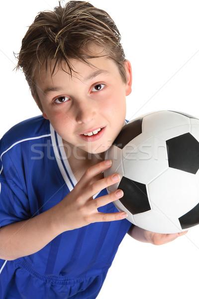 Fiú tart futballabda kész arc futball Stock fotó © lovleah