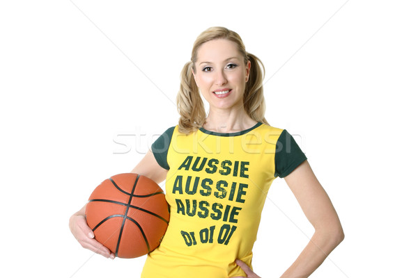 Smiling female with a sports basketball Stock photo © lovleah