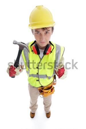 Bouwer hamer goedkeuring succes Stockfoto © lovleah
