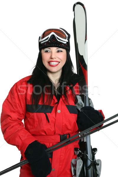 Női kész sí nő öltöny hordoz Stock fotó © lovleah
