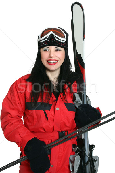 Feminino pronto esquiar mulher terno Foto stock © lovleah