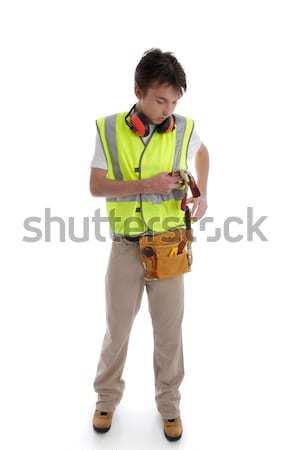 Stażysta uczeń budowniczy stolarz złota rączka pracownik budowlany Zdjęcia stock © lovleah