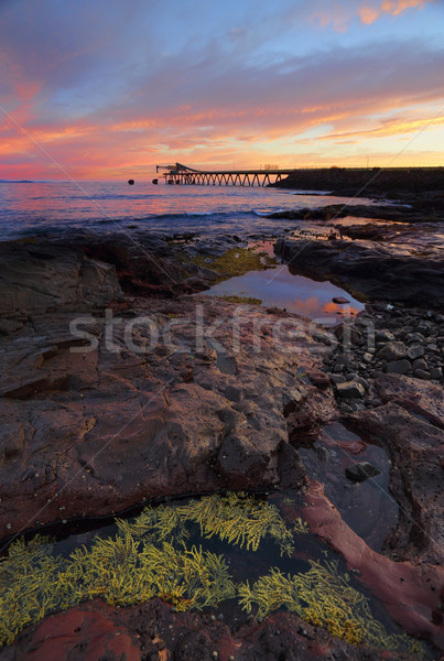 Sunrise from Bass Point with Gravel Loader pier in distance Stock photo © lovleah