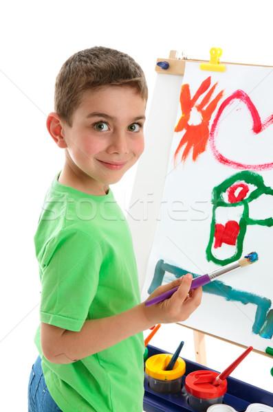 Fiatal srác művész festmény festőállvány fiatal iskolás fiú Stock fotó © lovleah