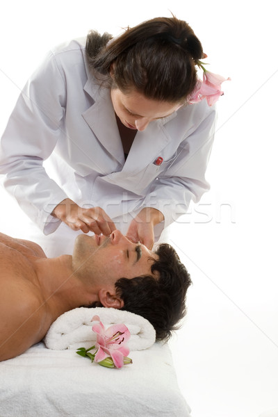 Beautician with Male Client Stock photo © lovleah