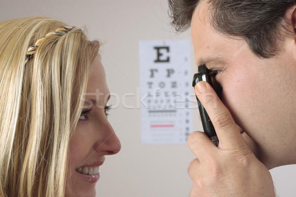 Szem közelkép optometrikus szemorvos női beteg Stock fotó © lovleah