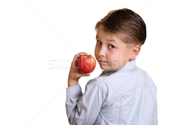 çocuk besleyici elma bakıyor omuz Stok fotoğraf © lovleah