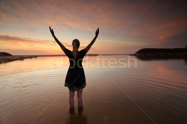 Woman outstretched arms praising perfect day success Stock photo © lovleah