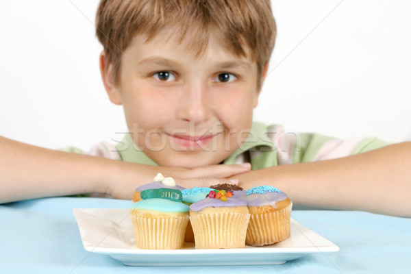 Cup Cakes on a white plate Stock photo © lovleah