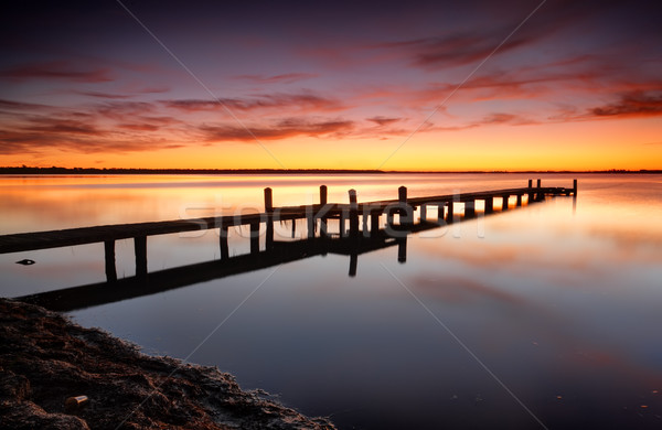 Beautiful skies over Tuggerah Lake with old jetty Stock photo © lovleah