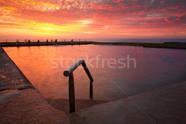 Ocean rock pool under blazing red sky Stock photo © lovleah