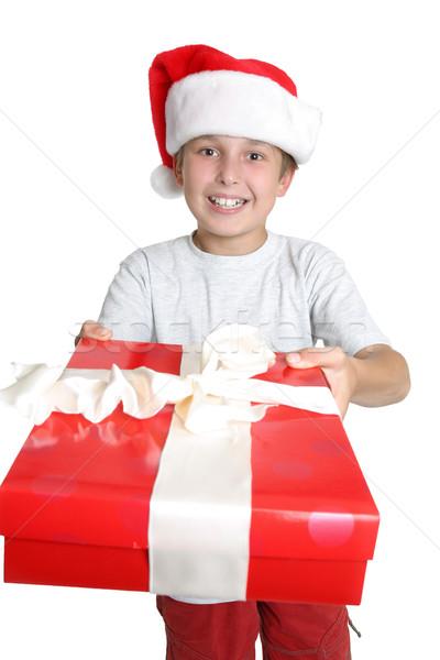 Gyermek ajándék ajándék fiú valaki karácsony Stock fotó © lovleah