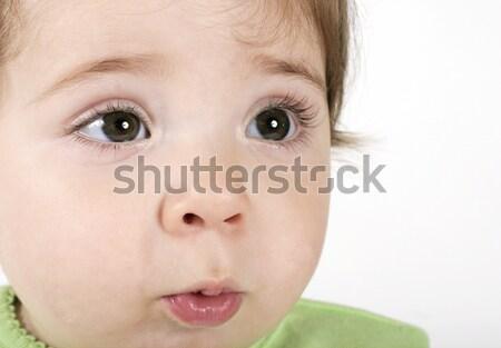 Kifejező baba arc közelkép fiatal portré Stock fotó © lovleah