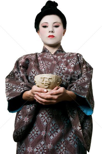 Asian woman jade bowl Stock photo © lovleah