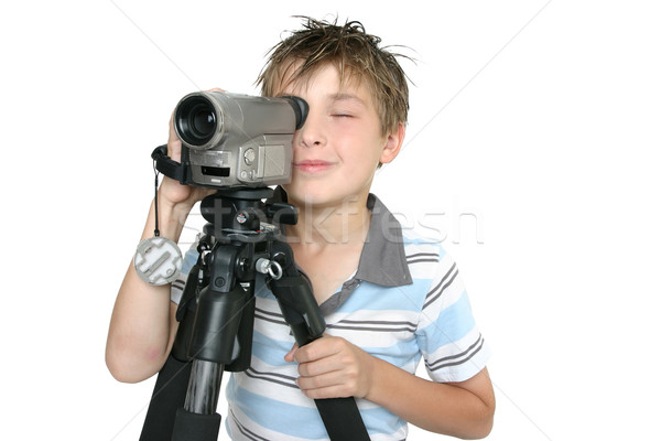 Stock photo: Shooting video with tripod