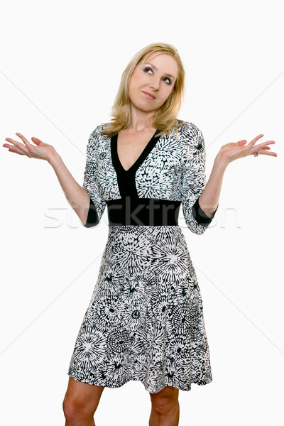 Female adult shrugging her shoulders and looking up Stock photo © lovleah