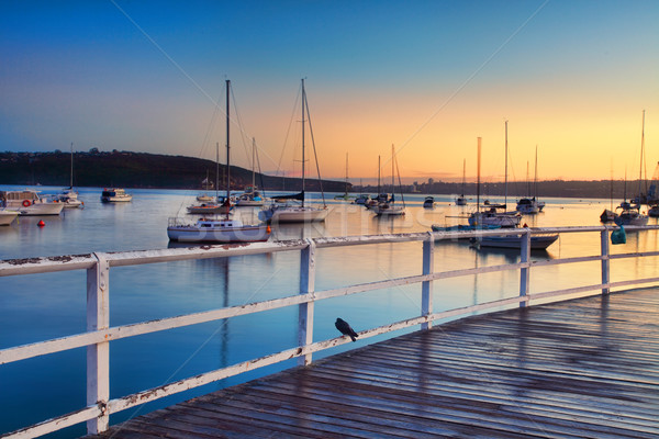 Boats moored bobbing in the waters at sunrise Stock photo © lovleah