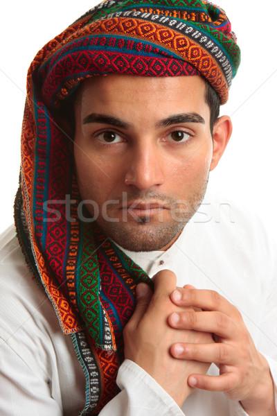 Félvér közel-keleti férfi kisebbségi visel köntös Stock fotó © lovleah