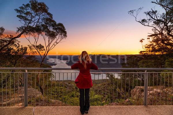 Watching the sunset at Burragorang Lookout Stock photo © lovleah