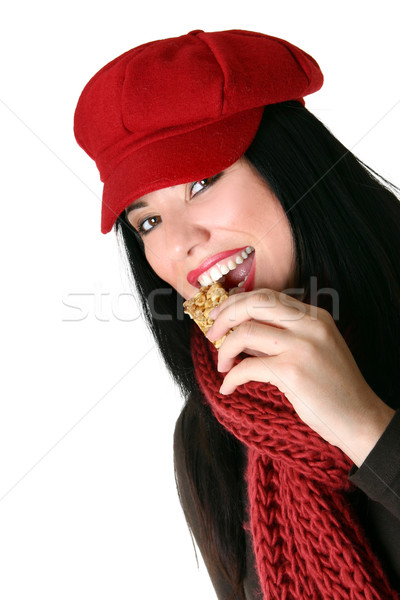 Happy woman eating healthy snacks Stock photo © lovleah