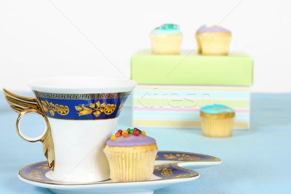Tea torták kávé miniatűr étel fekete Stock fotó © lovleah