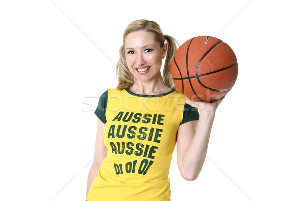 Sporty active smiling girl with a basketball Stock photo © lovleah