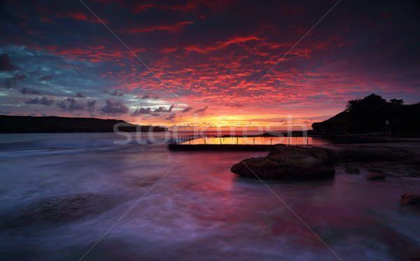 Sensationnel sunrise Rock piscine Sydney magnifique Photo stock © lovleah